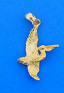 Pelican 3d Pendant/Charm, 14k