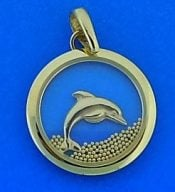 Dolphin Window Pendant, 14k Yellow Gold