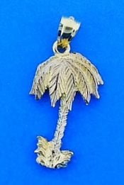 Palm Tree Pendant, 14k 2-Tone