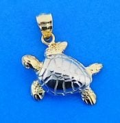 Sea Turtle 3d Charm/Pendant, 14k Yellow Gold