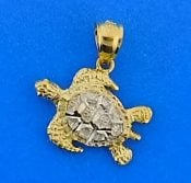 Sea Turtle Charm/Pendant, 14k 2-Tone