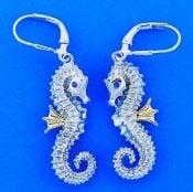 Steven Douglas Seahorse Earrings, Sterling Silver/14k