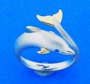 Steven Douglas Dolphin Wrap Ring, Sterling Silver/14k