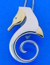 Steven Douglas Seahorse Slide/Pendant, Sterling Silver/14k