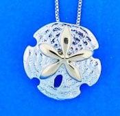 Steven Douglas Sand Dollar Pendant, Sterling Silver/14k