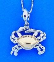 Steven Douglas Crab Pendant, Sterling Silver/14k