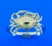 Steven Douglas Crab Ring, Sterling Silver/14k