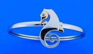 Steven Douglas Seahorse Bangle Bracelet, Sterling Silver/14k
