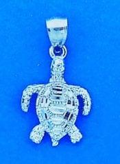Sea Turtle Charm/Pendant, 14k White Gold