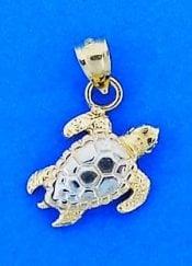 Sea Turtle 3d Charm/Pendant, 14k 2-Tone