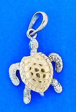Sea Turtle 3d Pendant, 14k/Sterling Silver