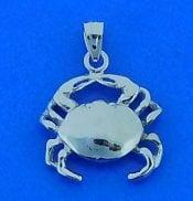Crab Charm/Pendant, 14k White Gold