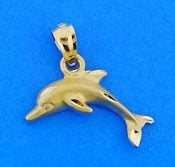 Dolphin Diamond-Cut Charm/Pendant, 14k Yellow Gold