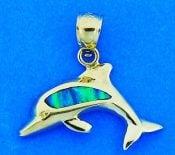 Dolphin Opal Pendant, 14k Yellow Gold