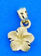 Plumeria Diamond-Cut Charm/Pendant, 14k Yellow Gold