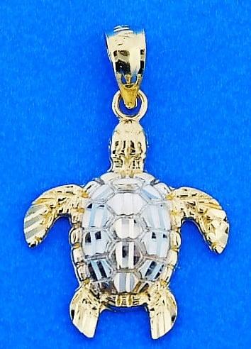 14k /& Rhodium Sea Turtle Pendant
