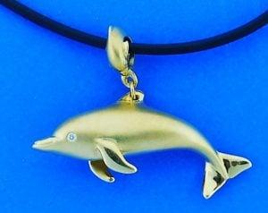 Steven Douglas Dolphin Pendant, 14k Yellow Gold