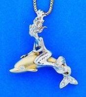 14k Steven Douglas Mermaid Riding A Dolphin Pendant 2-Tone