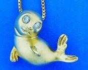 Steven Douglas Baby Seal Pendant, 14k Yellow Gold