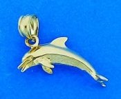 3-D Dolphin Pendant/Charm, 14k Yellow Gold