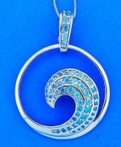 Wave Blue Cz Pendant, Sterling Silver, Large