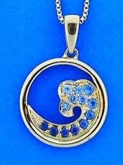 Wave Pendant, Blue Sapphire , 14k