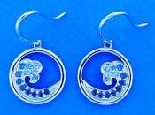 Wave Earrings Blue Sapphires, 14k White Gold