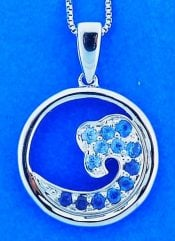 Wave Pendant, Blue Sapphires, Sterling Silver