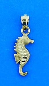 Seahorse Charm, 14k Yellow Gold