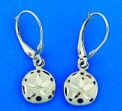 Sand Dollar Lever Back Dangle Earrings, 14k Yellow Gold