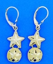 Starfish/Sand Dollar Lever Back Dangle Earrings, 14k Yellow Gold