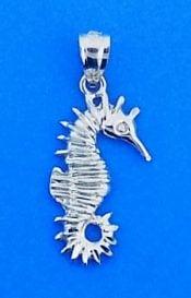Seahorse 2-D Charm/Pendant, 14k White Gold