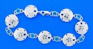 Sand Dollar Bracelet With Blue Topaz, Sterling Silver