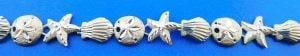 Shell, Starfish, Sand Dollar Sealife Bracelet, Sterling Silver