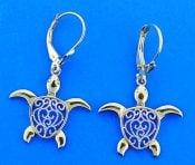Sea Turtle Dangle Lever Back Earrings, 14k 2-Tone Gold