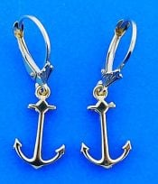 Anchor Dangle Lever Back Earrings, 14k Yellow Gold