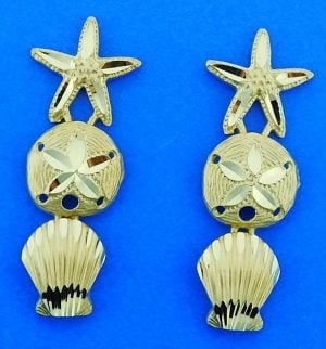 Starfish Sand Dollar Shell Post Dangle Earrings, 14k Yellow Gold