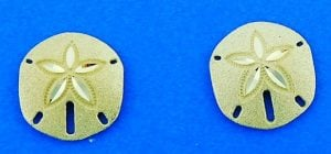 Sand Dollar Post Earring, 14k Yellow Gold