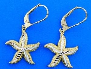 Starfish 2-Tone Dangle Lever Back Earrings, 14k