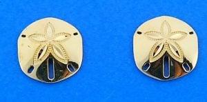 Sand Dollar Post Earrings, 14k Yellow Gold