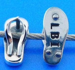 Lbi Flip Flop Bead Charm, Sterling Silver