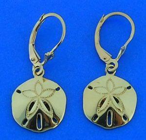 Sand Dollar Dangle Lever Back Earrings, 14k Yellow Gold