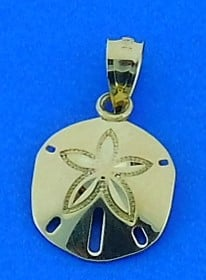 Sand Dollar Mini Charm, 14k Yellow Gold