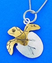 Hatching Sea Turtle Pendant, Sterling Silver