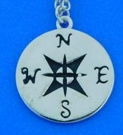 Compass Rose Pendant, Sterling Silver