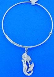 Mermaid Adjustable Charm Bracelet/Bangle, Sterling Silver