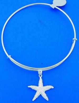 Starfish Adjustable Charm Bracelet/Bangle, Sterling Silver
