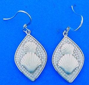 Double Shell Cz Dangle Earrings, Sterling Silver
