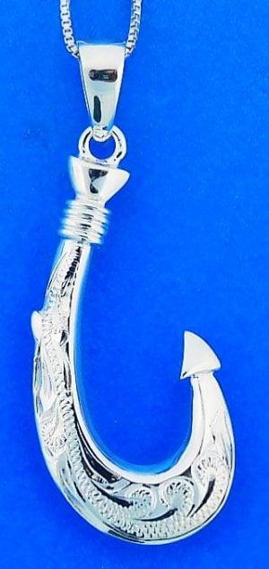 Fishing Hook Pendant, Sterling Silver