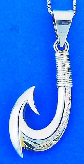Fishing Hook Pendant, Sterling Silver